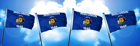 wisconsin flag, 3D rendering, on a cloud background Stock Photo