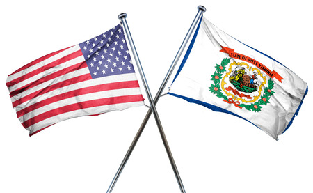 3d virginia: west virginia and USA flag, 3D rendering, crossed flags Stock Photo