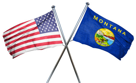 montana and USA flag, 3D rendering, crossed flags