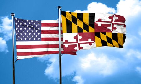 maryland flag: maryland with united states flag, 3D rending, combined flags Stock Photo