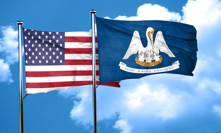 louisiana flag: louisiana with united states flag, 3D rending, combined flags Stock Photo