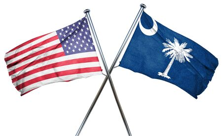 south carolina and USA flag, 3D rendering, crossed flags