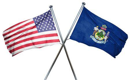 Maine en de VS vlag, 3D-rendering, gekruiste vlaggen