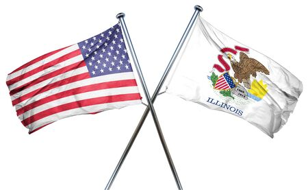 illinois and USA flag, 3D rendering, crossed flags Фото со стока
