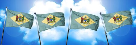 delaware flag, 3D rendering, on a cloud background Stock Photo