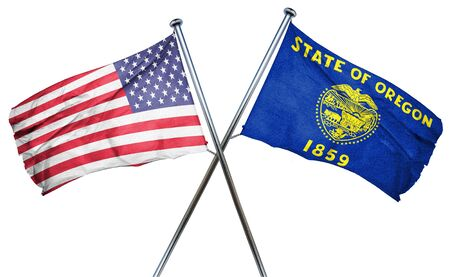 oregon en de VS vlag, 3D-rendering, gekruiste vlaggen