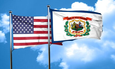 3d virginia: west virginia with united states flag, 3D rending, combined flags Stock Photo