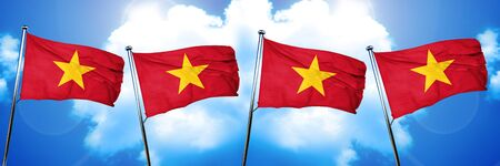 Vietnam flag, 3D rendering, on cloud background Stock Photo