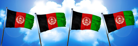 Afghanistan flag, 3D rendering, on cloud background Stock Photo