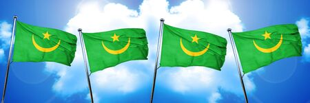 mauritania: Mauritania flag, 3D rendering, on cloud background Stock Photo