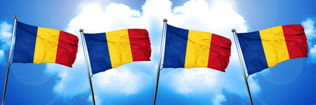 Romania flag, 3D rendering, on cloud background
