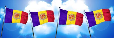 Andorra flag, 3D rendering, on cloud background