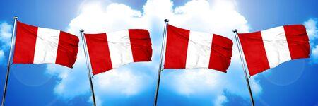 bandera de peru: Bandera de Perú, representación 3D, sobre fondo de nubes Foto de archivo