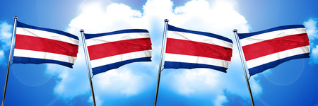 costa: Costa Rica flag, 3D rendering, on cloud background