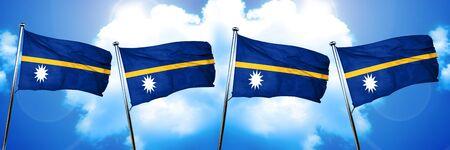 nauru: Nauru flag, 3D rendering, on cloud background Stock Photo