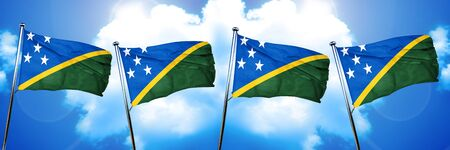 Solomon islands flag, 3D rendering, on cloud background