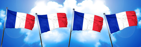 french culture: France flag, 3D rendering, on cloud background
