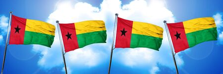 Guinea bissau flag, 3D rendering, on cloud background Stock Photo