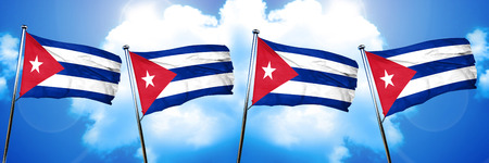 bandera de cuba: Cuba flag, 3D rendering, on cloud background