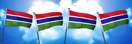 Gambia flag, 3D rendering, on cloud background