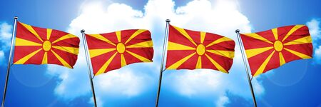 Macedonia flag, 3D rendering, on cloud background