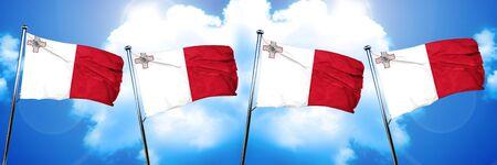 malta: Malta flag, 3D rendering, on cloud background Stock Photo