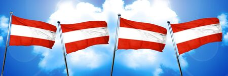 Austria flag, 3D rendering, on cloud background