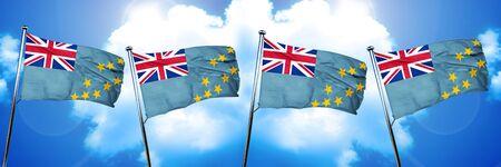 Tuvalu flag, 3D rendering, on cloud background