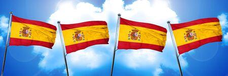 spanish flag: Spanish flag, 3D rendering, on cloud background Stock Photo
