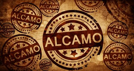 Alcamo, vintage stamp on paper background
