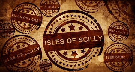 scilly: Isles of scilly, vintage stamp on paper background