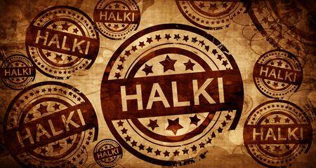halki: Halki, vintage stamp on paper background