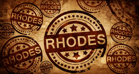 Rhodes, vintage stamp on paper background