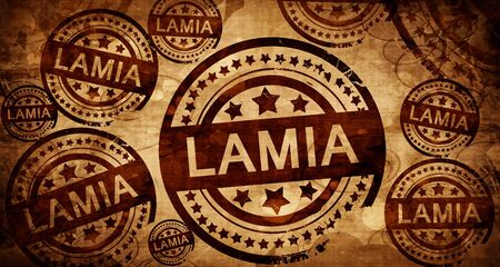 lamia: Lamia, vintage stamp on paper background