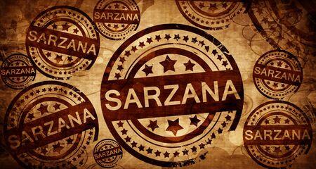 Sarzana, vintage stamp on paper background Stock Photo