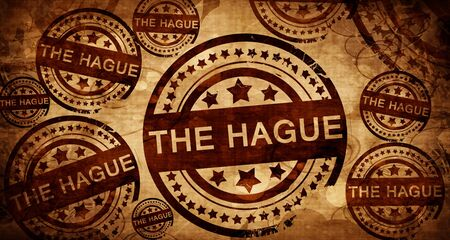 the hague: The hague, vintage stamp on paper background
