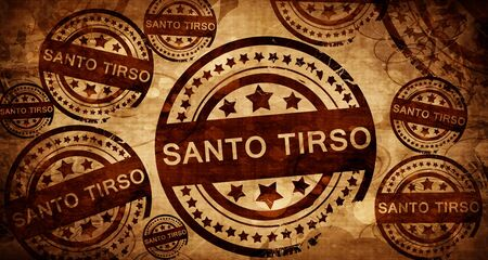 santo: Santo tirso, vintage stamp on paper background