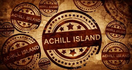 Achill island, vintage stamp on paper background