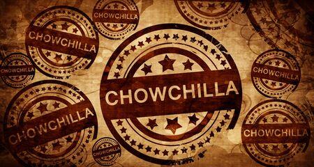 stamped: chowchilla, vintage stamp on paper background