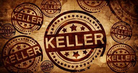 stamped: keller, vintage stamp on paper background Stock Photo