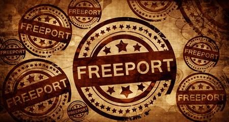 stamped: freeport, vintage stamp on paper background