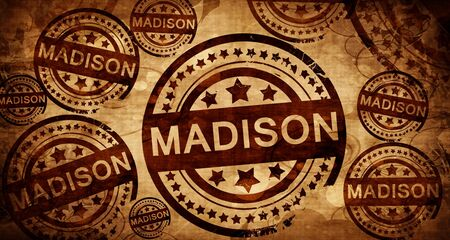 madison, vintage stamp on paper background