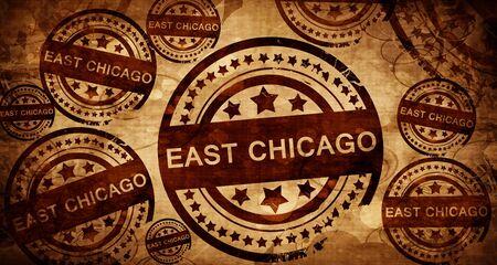 stamped: east chicago, vintage stamp on paper background