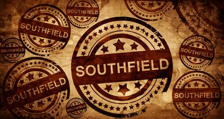 stamped: southfield, vintage stamp on paper background