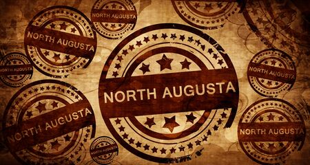 stamped: north augusta, vintage stamp on paper background Stock Photo