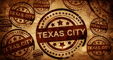stamped: texas city, vintage stamp on paper background