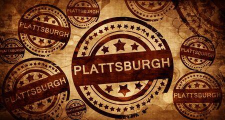 stamped: plattsburgh, vintage stamp on paper background