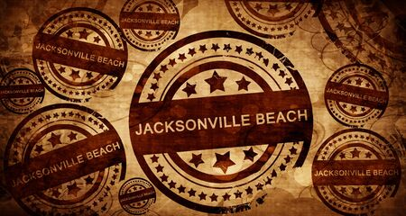 jacksonville beach, vintage stamp on paper background