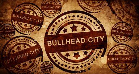 bullhead: bullhead city, vintage stamp on paper background