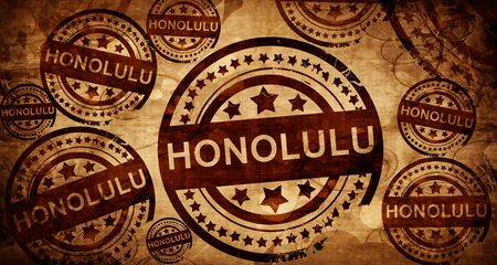 stamped: honolulu, vintage stamp on paper background Stock Photo